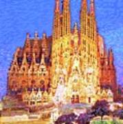 Sagrada Familia At Night Poster