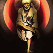 Saibaba On Stone With Sun Poster