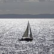 Sail Boat In A Sea Of Diamonds  Poster