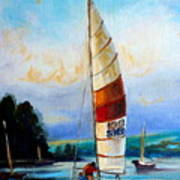 Sail Boats On The Lake Poster
