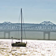 Sailboat And The Tappan Zee Bridge Poster