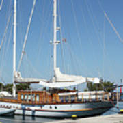 Sailboat In Harbor Summer Vacation Scene Poster