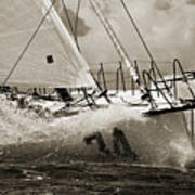Sailboat Le Pingouin Open 60 Sepia Poster by Dustin K Ryan