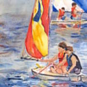 Sailboat Painting In Watercolor Poster