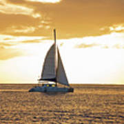 Sailboat Sailing Off Of Anse Chastanet At Sunset Saint Lucia Caribbean  Poster