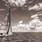Sailboat Sailing On The Charleston Harbor Sepia Beneteau 40.7 Poster by Dustin K Ryan