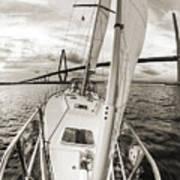 Sailboat Sailing Past Arthur Ravenel Jr Bridge Charleston Sc Poster