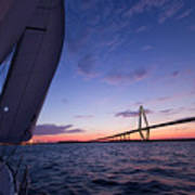 Sailboat Sailing Sunset On The Charleston Harbor  Poster by Dustin K Ryan
