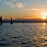Sailboat Sillohette Sunset Poster