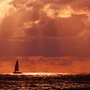 Sailboat Sun Rays Poster