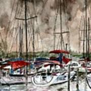 Sailboats At Night Poster