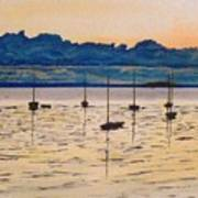 Sailboats Moored Clouds Front Ocean Sea Lake Poster