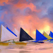Sailboats On Boracay Island Poster