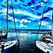Sailboats Watching Weather Poster