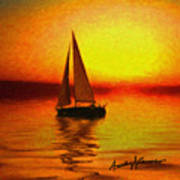 Sailing At Sunset Poster by Anthony Caruso