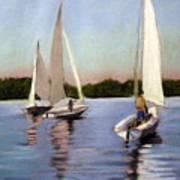 Sailing On The Charles Poster by Lenore Gaudet