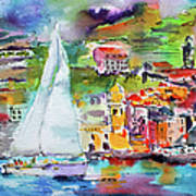 Sailing Past Vernazza Italy Poster