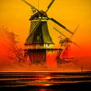 Sailing Romance Windmills Poster