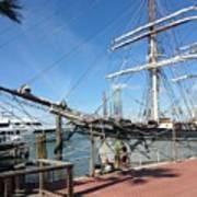 Sailing Ship At Galveston Poster