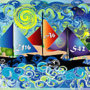 Sailing With Dolphins Poster