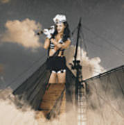 Sailor Pinup Girl On Lookout From Ships Crows-nest Poster