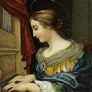 Saint Cecilia Playing The Organ Poster