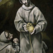 Saint Francis And Brother Leo Meditating On Death Poster