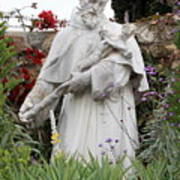 Saint Francis Statue In Carmel Mission Garden Poster
