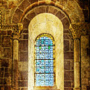 Saint Isidore - Romanesque Window With Stained Glass - Vintage Version Poster