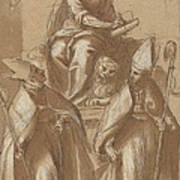 Saint Mark With Two Bishops And Putti Poster