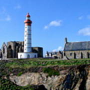 Saint-mathieu Lighthouse And The Ruins Of The Abbey Of Saintlmat Poster