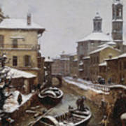 Saint Sophia Canal Covered In Snow Poster