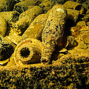 Sake Bottles In A Shipwreck In Truk Poster
