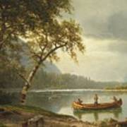 Salmon Fishing On The Caspapediac River Poster by Albert Bierstadt