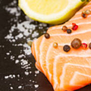 Salmon Steak And Spices Poster