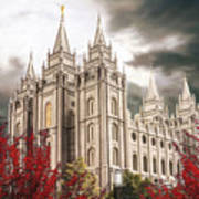 Salt Lake Temple - A Light in the Storm Poster
