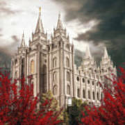 Salt Lake Temple - A Light in the Storm - cropped Poster
