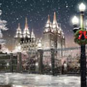 Salt Lake Temple Christmas Lights Poster