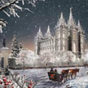 Salt Lake Temple - Old Time Christmas Poster
