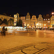 Salt Square In Wroclaw At Night Poster