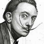 Salvador Dali Portrait Black And White Watercolor Poster