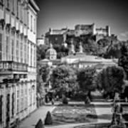 Salzburg Wonderful View To Salzburg Fortress Monochrome Poster