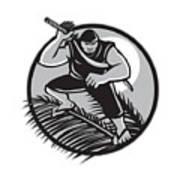 Samoan Ninja On Top Of Coconut Front Circle Poster