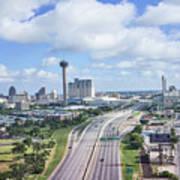 San Antonio City View -color Canvas Print Poster