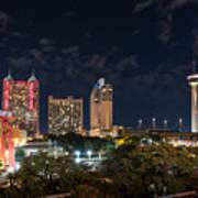 San Antonio Cityscape At Night Poster
