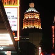 San Antonio Downtown Night Poster