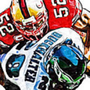 San Francisco 49ers Patrick Willis Philadelphia Eagles Correll Buckhalter  Poster by Jack K