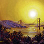 San Francisco Bay In Golden Glow Poster