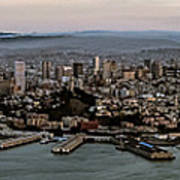 San Francisco City Skyline Panorama At Sunset Aerial Poster