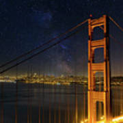 San Francisco City Skyline Through Golden Gate Bridge Poster